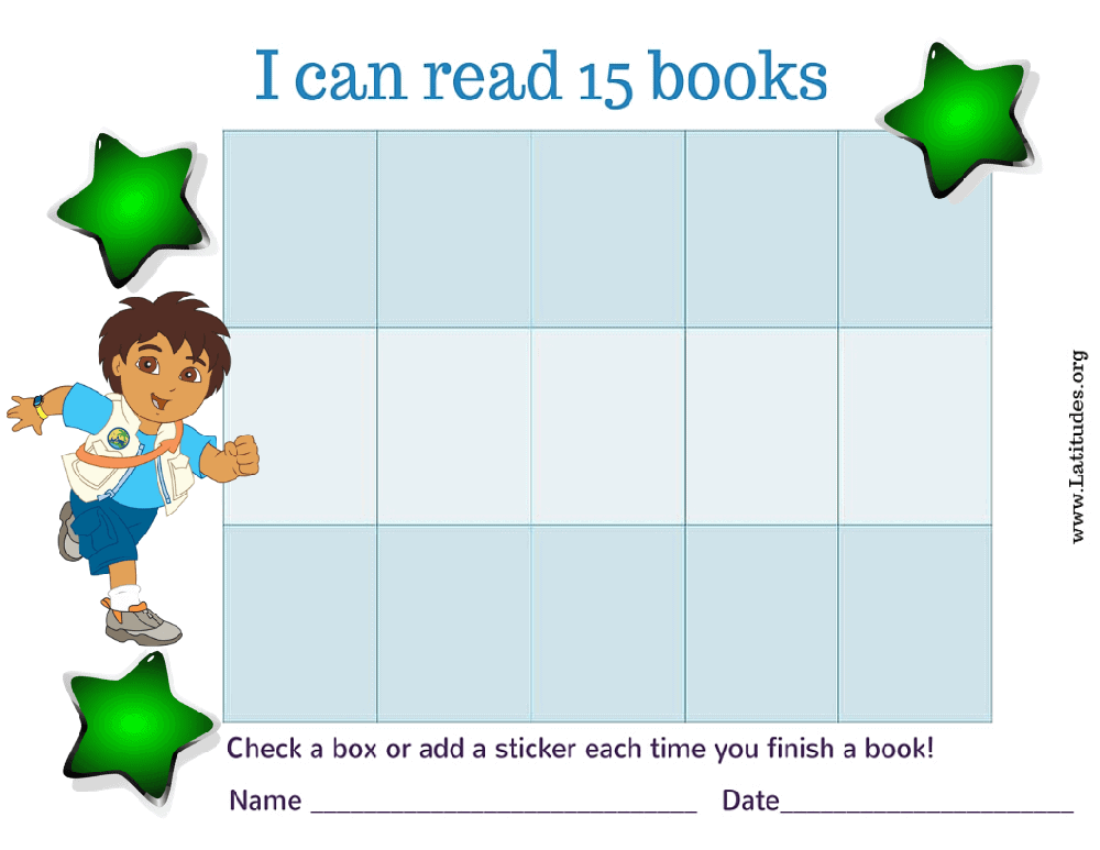 Go Diego Go I Can Read 15 Books Chart (Fillable)