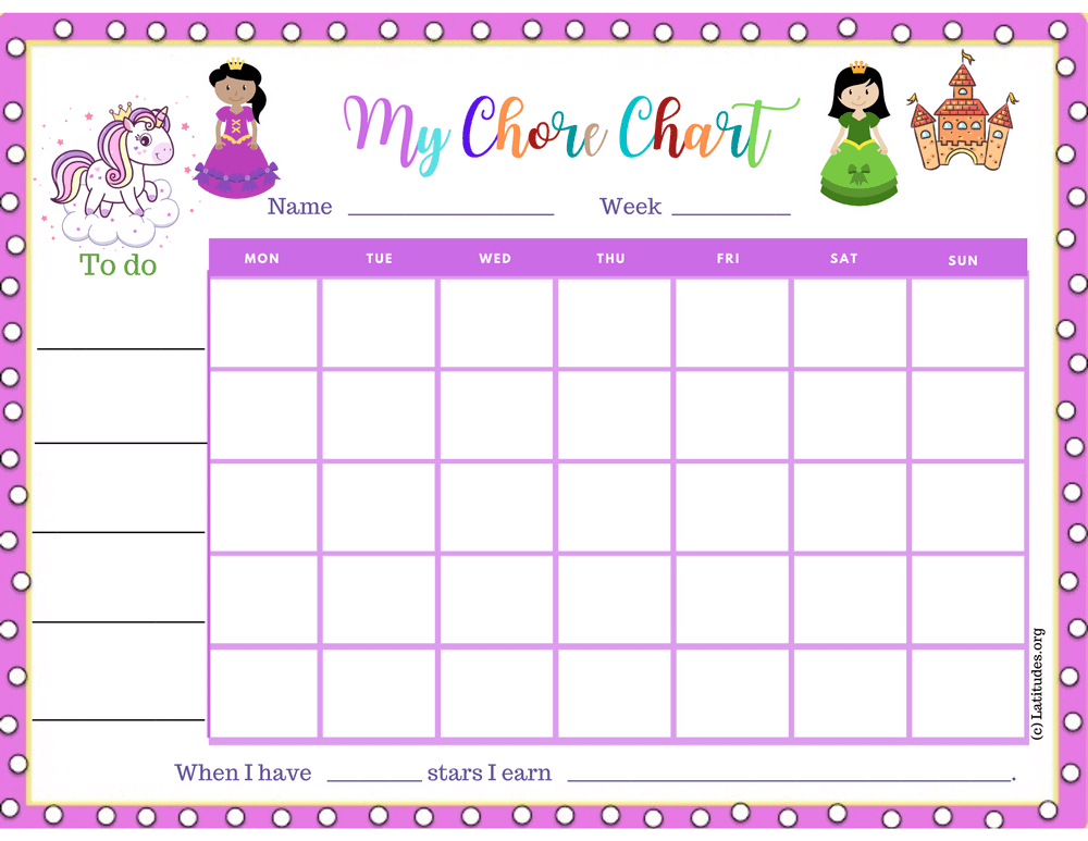 Happy Princess Chore Chart (Fillable)