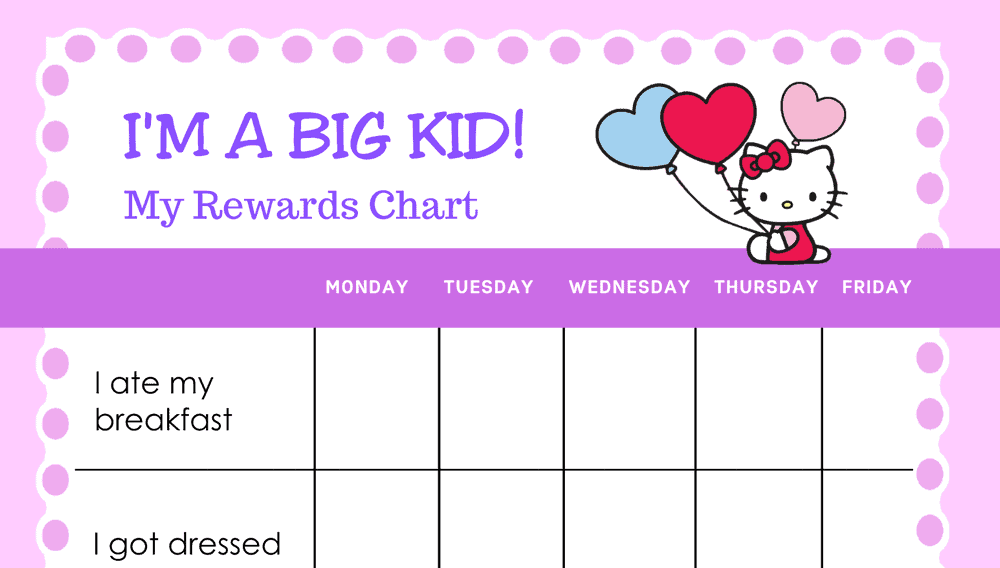 Hello Kitty I'm A Big Kid Reward Chart (Fillable)