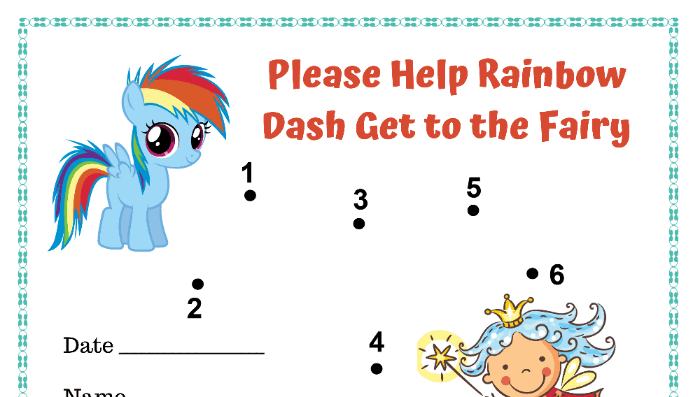 Help Rainbow Dash Get to the Fairy Toddler Reward Chart (Fillable)