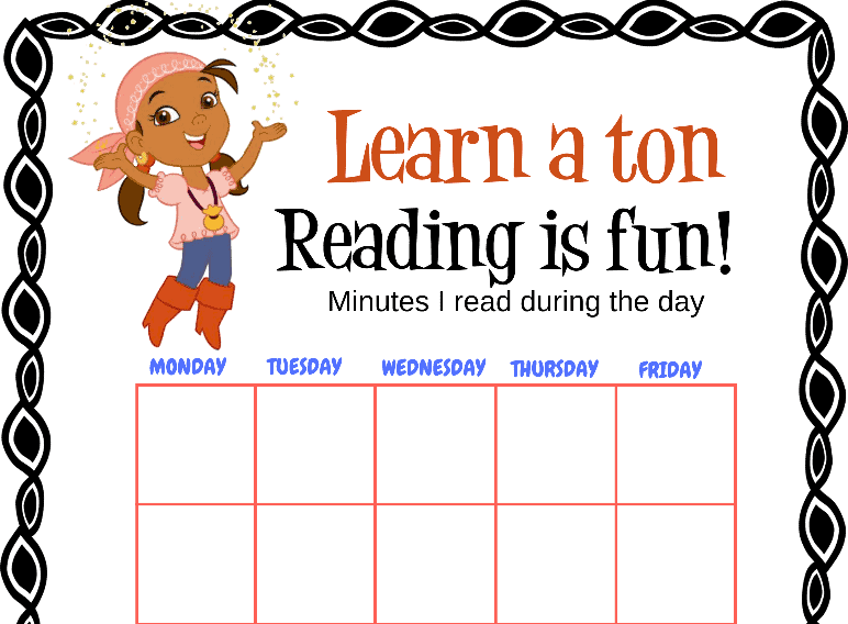 Izzy Never Land Pirates Learn a Ton Reading is Fun Chart