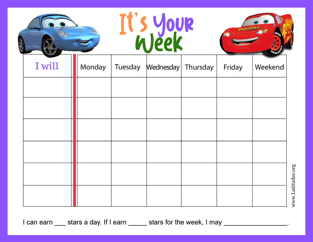 Lightning McQueen Disney Cars Its Your Week Weekly Behavior Chart (Fillable)
