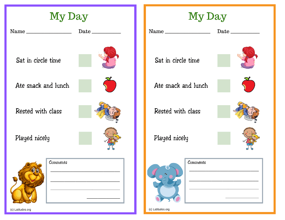 Lion and Elephant My Day PreK Daily Chart (Fillable)