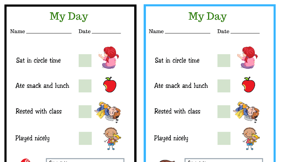 Mario and Curious George My Day PreK Daily Chart (Fillable)