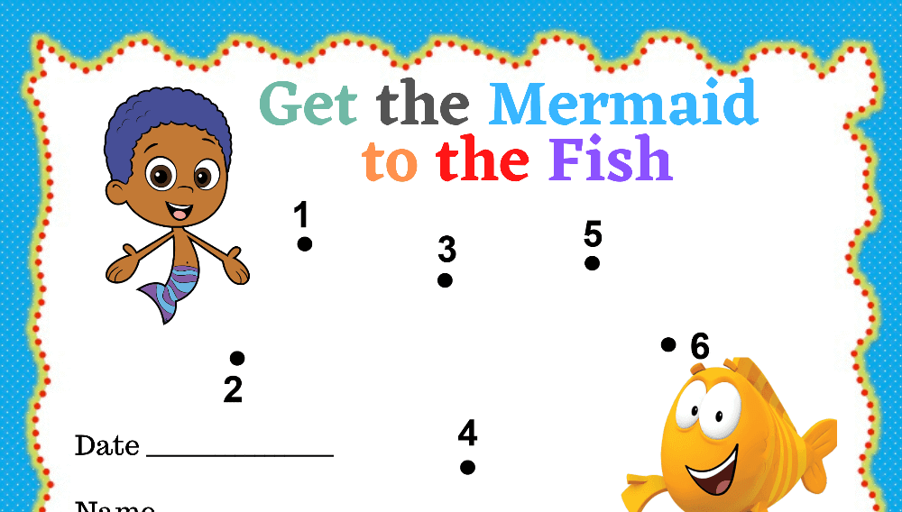 Mermaid to Fish Dot to Dot Toddler Reward Chart (Fillable)