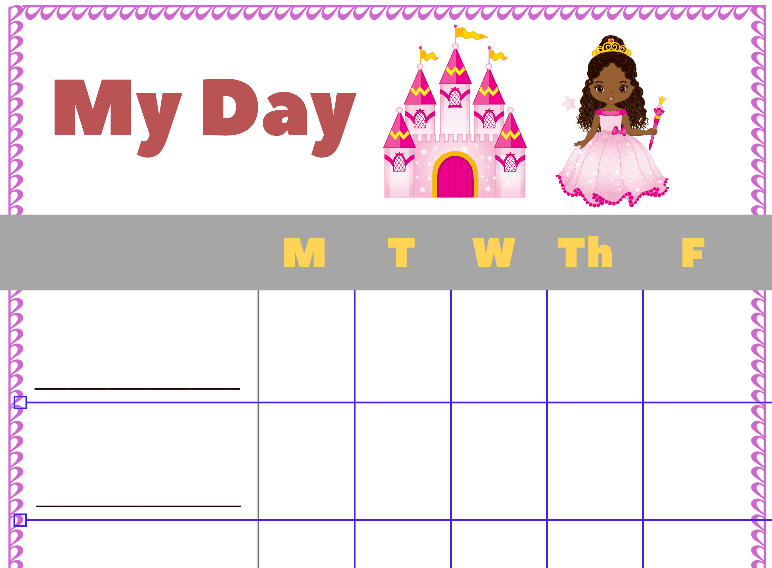 My Day Princess Sticker Chart (Fillable)