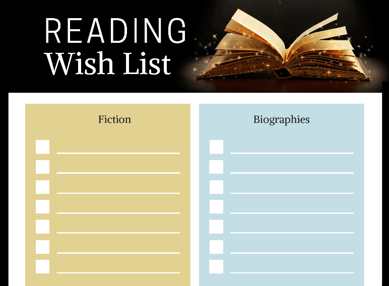 My Reading Wish List (Fillable)