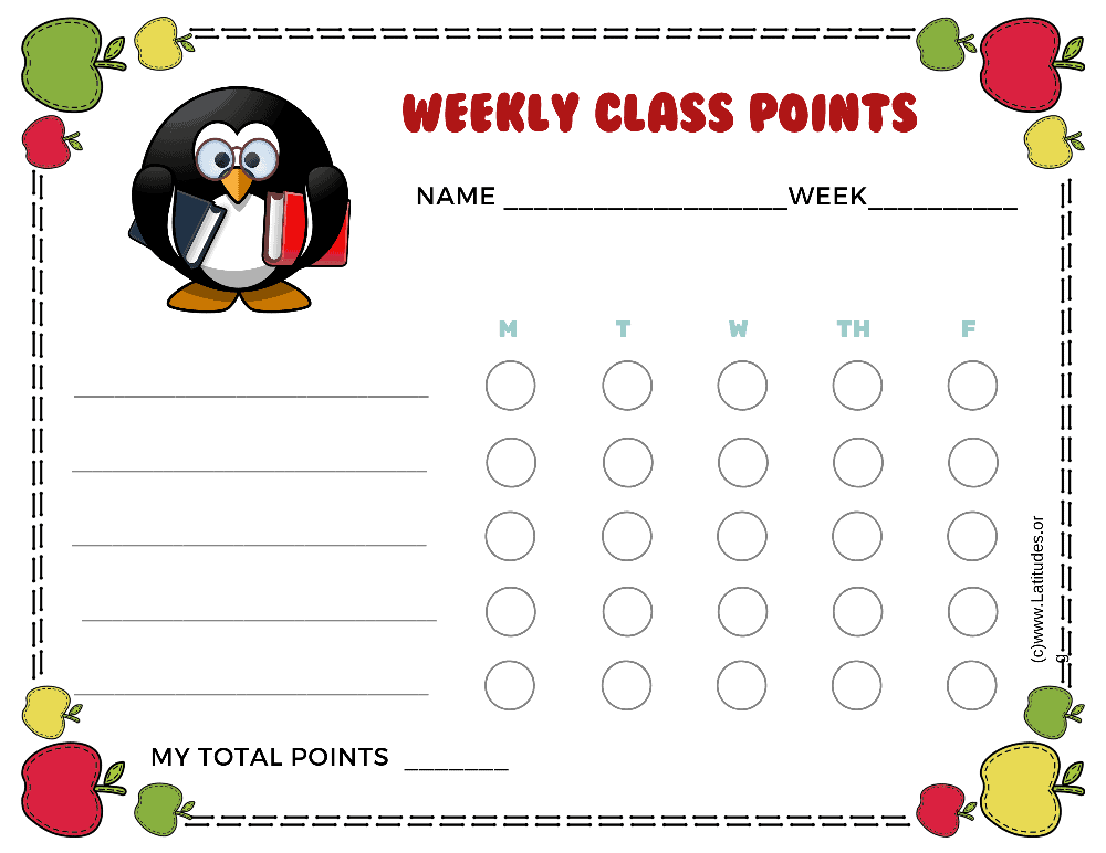 Penguin Weekly Class Points Behavior Chart (Fillable)