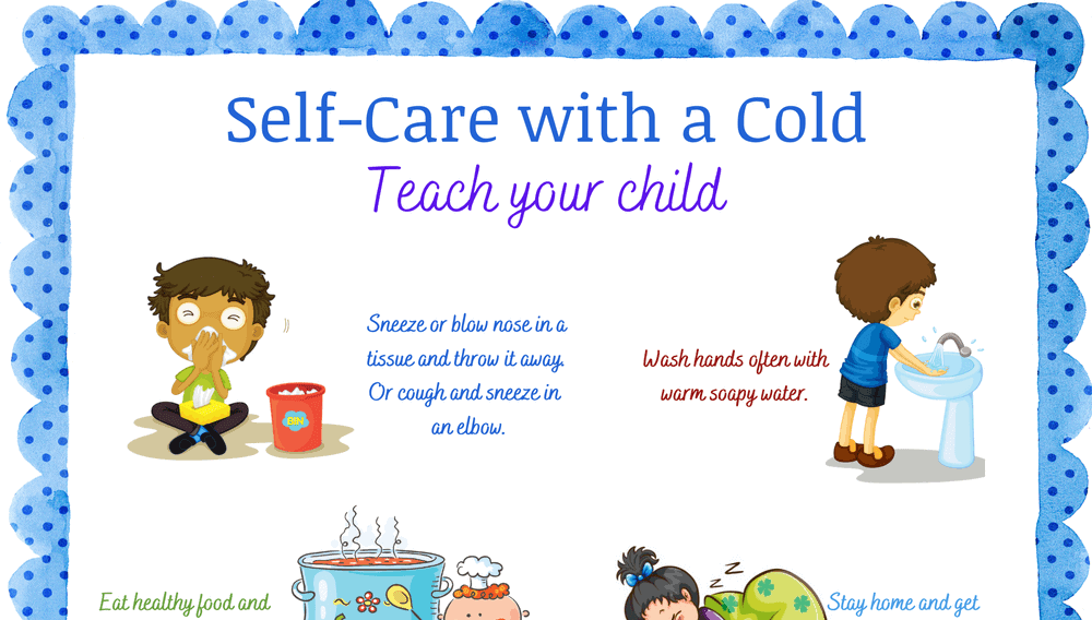 Pre-K Self-Care with a Cold Printable Poster