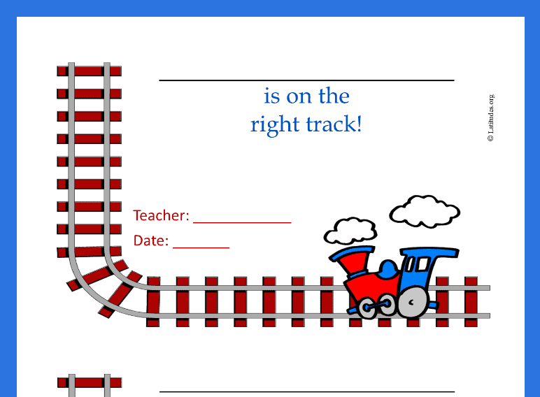 Right Track Train Behavior Chart (Fillable)