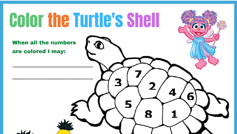 Sesame Street Color the Turtles Back Behavior Chart (Fillable)