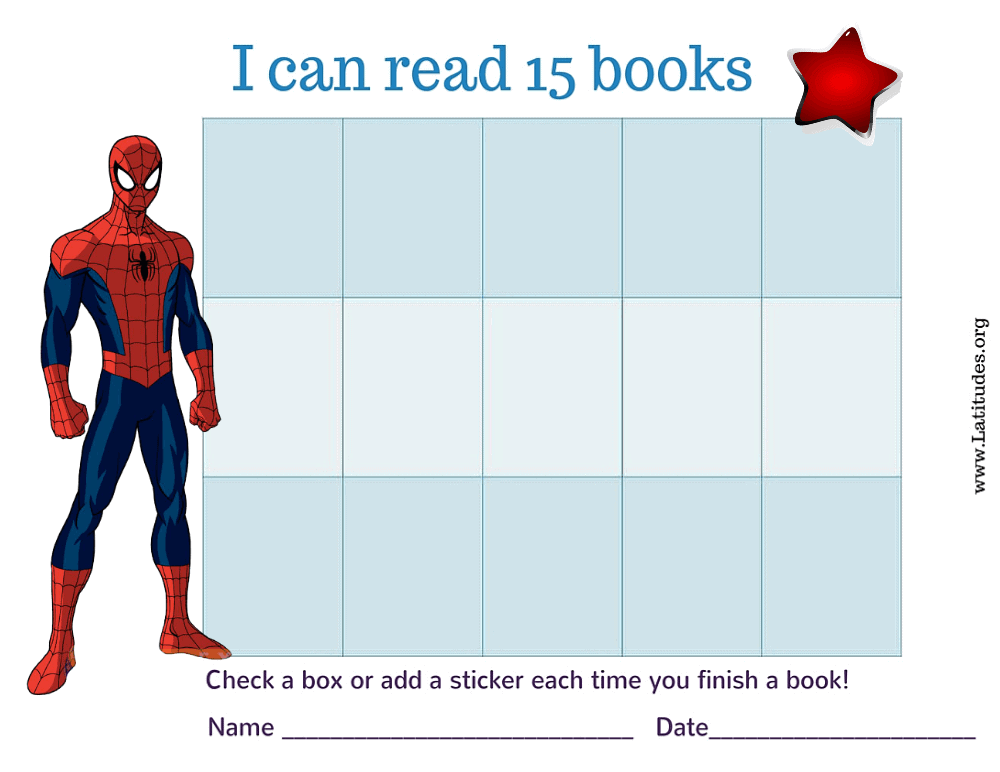 Spiderman I Can Read 15 Books Chart