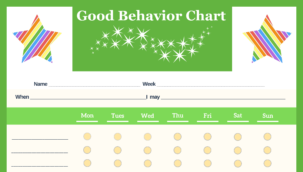 Stars 6-Point Weekly Good Behavior Chart (Fillable)