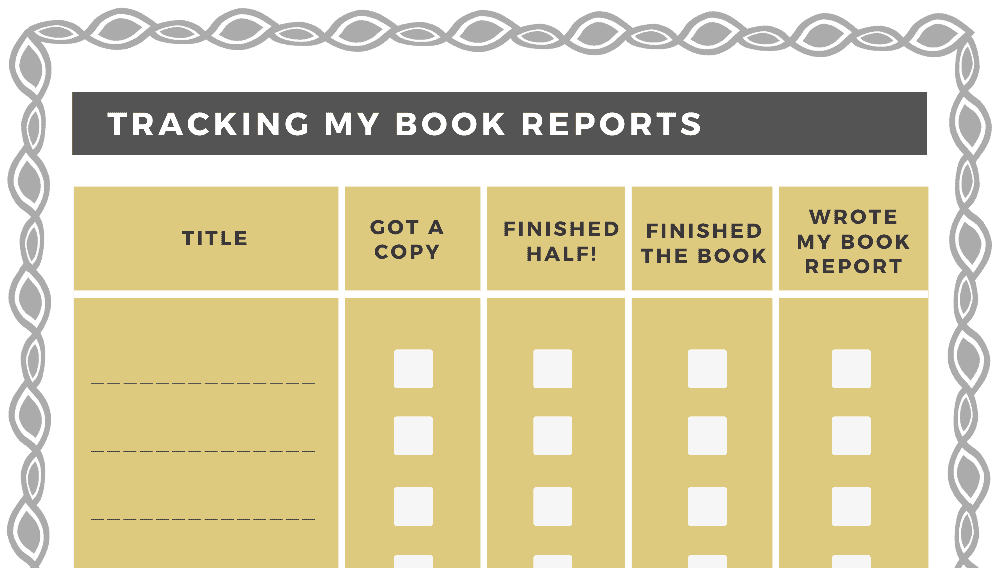 Tracking My Book Reports (Fillable)