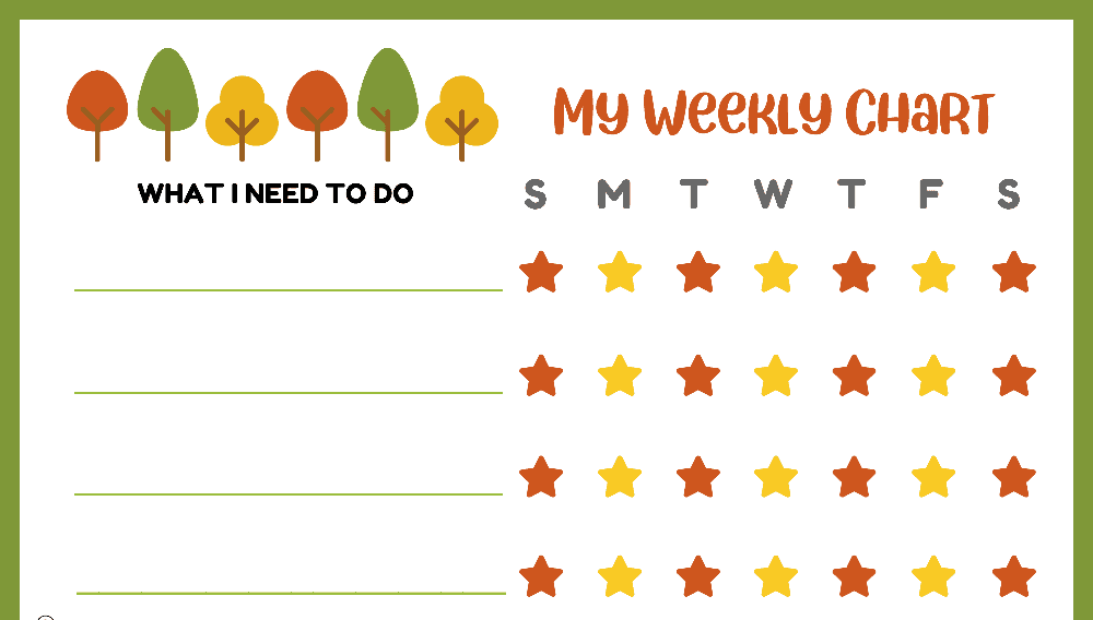 What I Need to Do Trees Weekly Behavior Chart (Fillable)