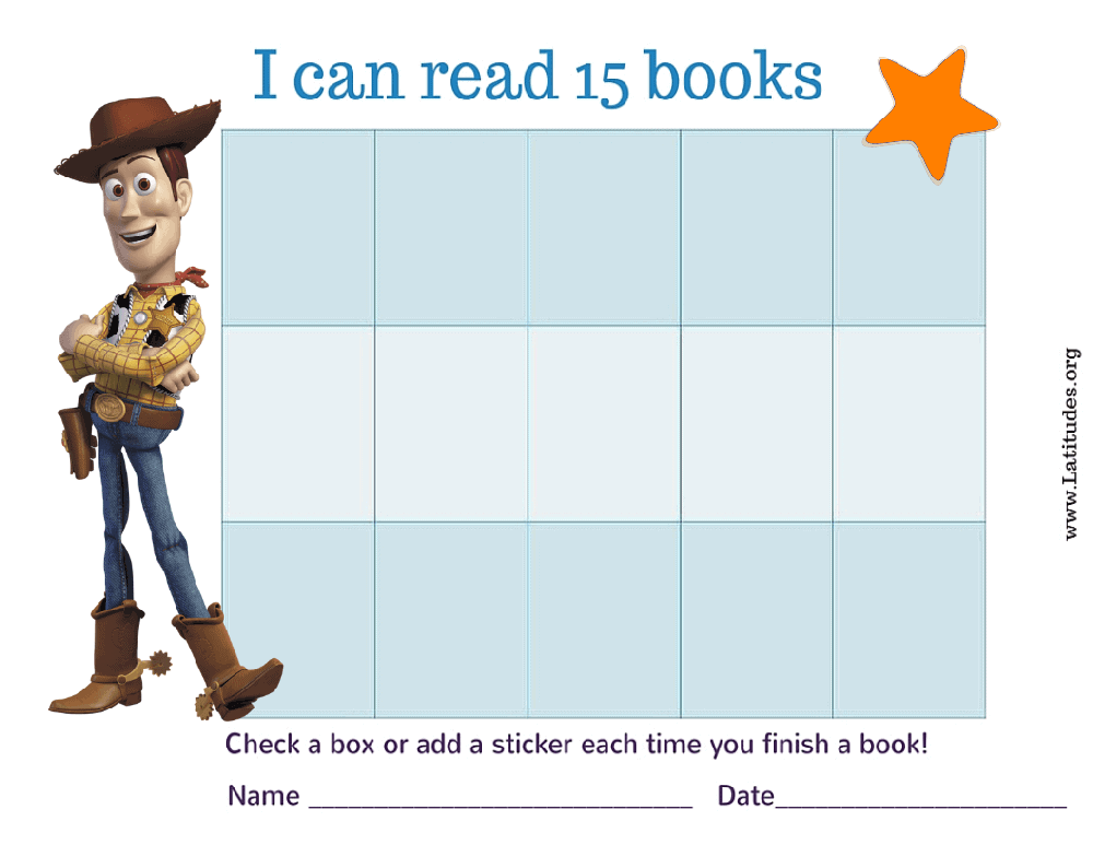 Woody Toy Story I Can Read 15 Books Chart (Fillable)