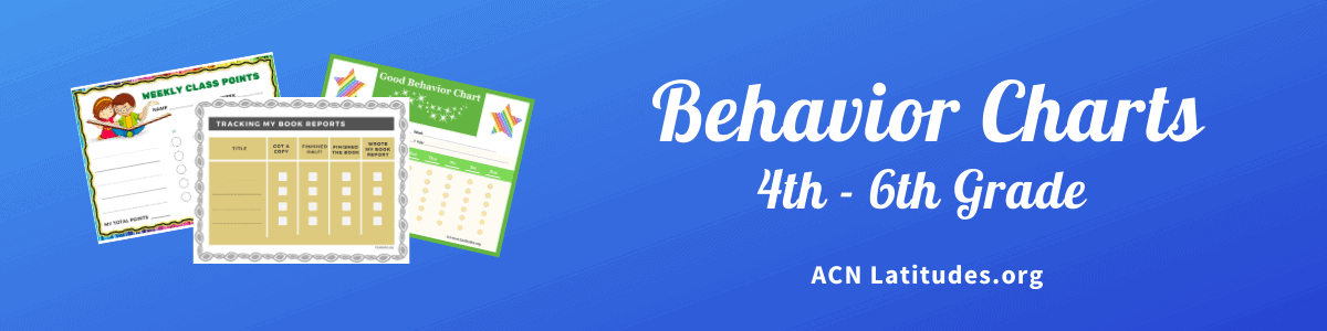 Behavior Charts 4th to 6th Grades Header Teachers