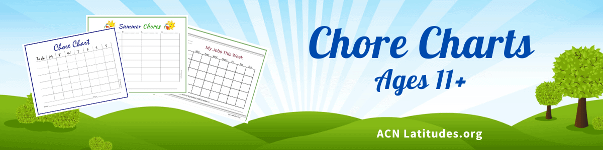 Chore Charts Ages 11 Plus Header