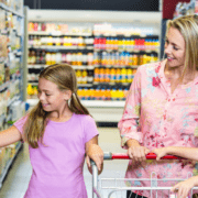 Children and mom in grocery store