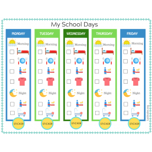 5 Day Primary Routine Chart