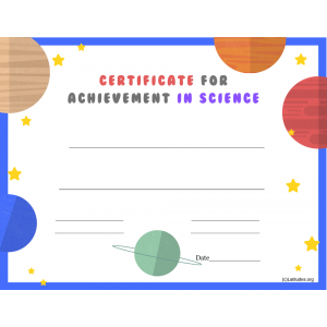Achievement in Science Certificate