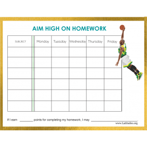 Aim High Midde High School Homework Chart (Fillable)