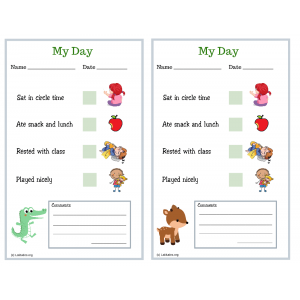 Alligator and Deer My Day PreK Daily Chart (Fillable)