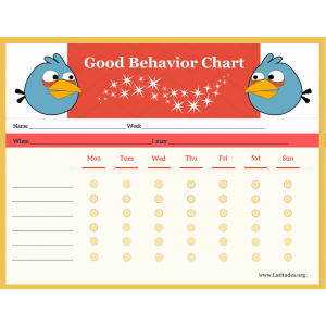 Angry Birds 6-Point Weekly Good Behavior Chart (Fillable)