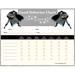 Batman 6-Point Weekly Good Behavior Chart (Fillable)