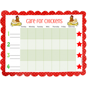 Care for Chickens Weekly Pet Care Chart