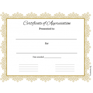 Certificate of Appreciation Gold Business (Fillable)
