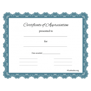 Certificate of Appreciation Gray Blue Formal (Fillable)