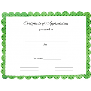Certificate of Appreciation Green Polka Dot (Fillable)