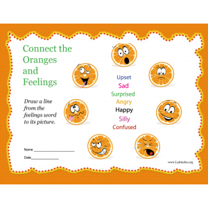 Connect the Feelings Oranges Feelings Chart (Fillable)