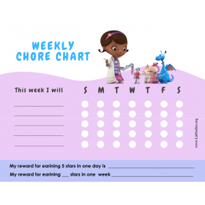 Doc McStuffins Weekly Chore Chart (Fillable)