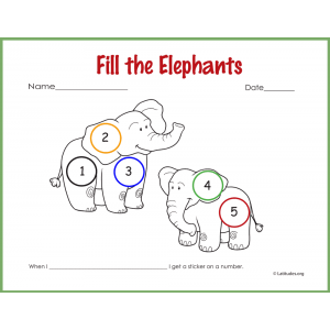 Fill the Elephants Sticker Behavior Chart (Fillable)