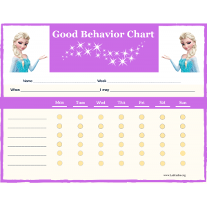 Frozen 6-Point Weekly Good Behavior Chart (Fillable)