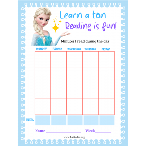 Frozen Learn a Ton Reading is Fun Minutes Chart (Fillable)