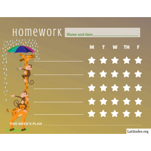 Giraffe in Rain Homework Star Chart (Fillable)