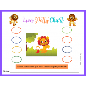 Girls Lion Potty Training Chart