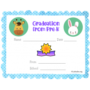 Graduation from PreK Blue Certificate