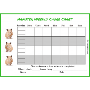 Hamster 4th and 5th Grade Chore Chart (Fillable)