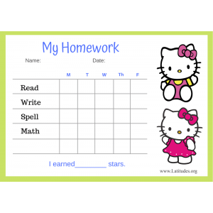 Hello Kitty 5-Day Homework Completion Chart