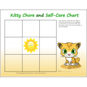 Kitty Chore Chart Self Care Chart (Fillable)