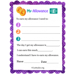 My Allowance Contract Primary UK (Fillable)