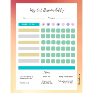 My Cat Responsibility Chart (Fillable)