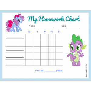 My Little Pony 5-Day Homework Completion Chart