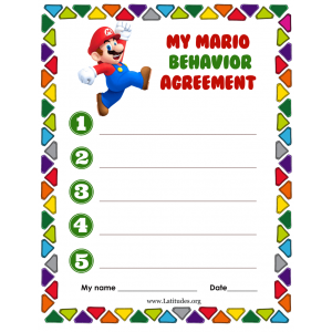 My Mario Behavior Agreement (Fillable)