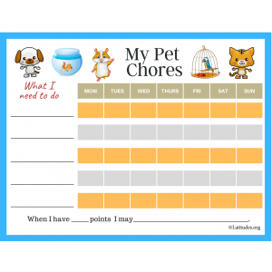 My Pet Chores Chart Blank (Fillable)