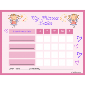My Princess 5-Day Duties Chore Chart (Fillable)